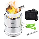 HIKPEED Camping Stove Portable Wood Stove Stainless Steel Folding Backpacking Stove for Outdoor Camp Survival Hiking Picnic with Blow Fire Tube & Carry Bag