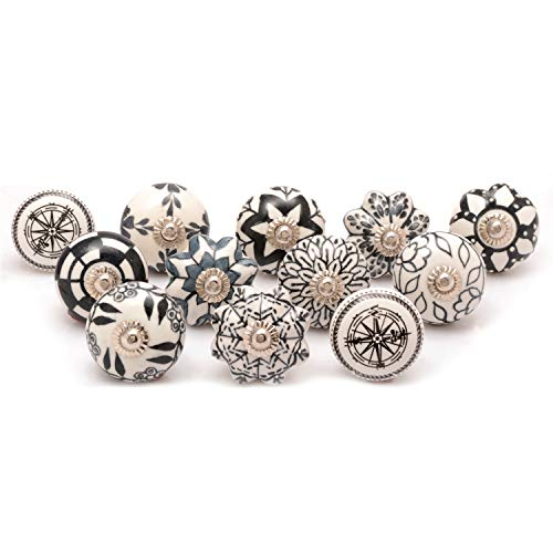 Premium Quality Assorted Ceramic Knobs- Multi Color Mix Designed Ceramic Cupboard Cabinet Door Knobs Drawer Pulls &...