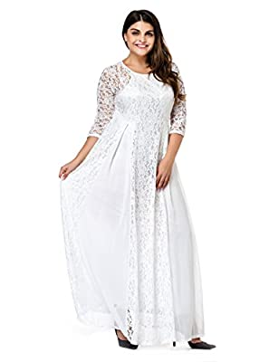 1.Material: 90%Polyester/10%Spandex; 2.Sexy Scoop Neck,3/4 Sleeve,Maxi Dress 3.Perfect A-line style and floor length as a formal dress in specail occasions 4.Occasion: Suitable for Outdoor,Night Club,Party,Wedding,Cocktail,Casual,Mother of the Bride,...