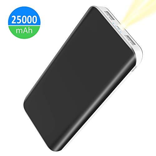 FKANT Batterie Externe 25000mAh Power Bank Portable avec Dual Port USB et 4 Mode LED Flashlight Chargeur de Secours pour Smartphone Samung Galaxy Huawei Tablette PSP D'Autre USB Via Device (Blanc)