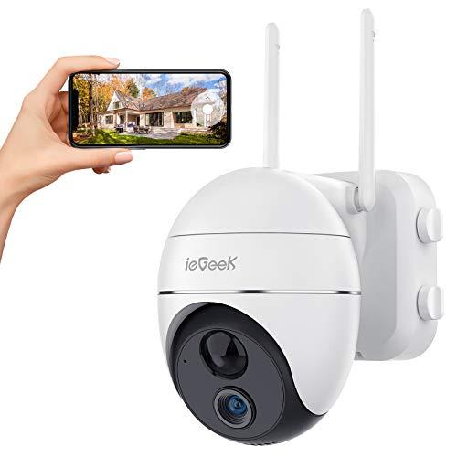 Telecamera Wi-Fi Esterno FHD 1080P 360° PTZ Videocamera, ieGeek 15000mAh Telecamera Batteria Senza Fili con Rilevamento del Movimento, Visione Notturna, Impermeabile IP65, Audio a 2 Vie, iOS/Android