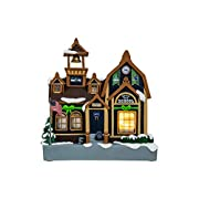 Officially licensed Dimensions - Approximately 7 in. x 6 in. x 4 in. Team-colored schoolhouse with winter, holiday accents Light-up functionality Team logo displays throughout