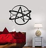 Pegatina de vinilo para pared, símbolo de ateísmo, ciencia atómica, aula, calcomanía de pared, Mandala, Yoga, flor, decoración de pared, Mural
