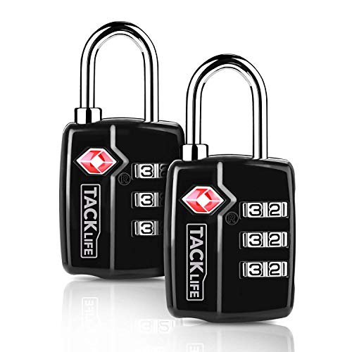 TACKLIFE Luggage Lock, 2 Packs Travel Lock, HCL3A 2.4 in TSA Padlock, 3 Digit Combination Lock, for Gym/Locker/School/Suitcase & Baggage