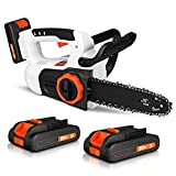 Cordless Chainsaw, 20V Powered Chainsaw with 2×2.0Ah Rechargeable Battery and Charger, 10 Inches Chain Saw Portable Chain Saw, Electric Chainsaw for Firewood Cutting, Garden Pruning, Tree Trimming
