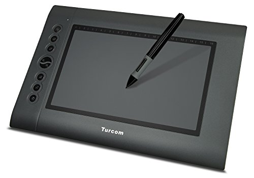 Turcom TS-6610 Graphic Tablet Drawing Tablets and Pen/Stylus for PC Mac Computer, 10 x 6.25 Inches Surface Area 2048 Levels of Pressure Sensitive Surface with 8 Hot Keys, 5080 LPI Resolution, Ideal for Kids and Artists