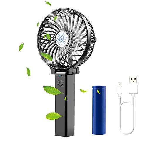 Diswoe Handventilator Tragbarer USB Ventilator Mini Lüfter Desk Fan Faltbar mit 2600mAh Aufladbarem Batterie LED 3 Geschwindigkeiten Kompatibel Laptop Multi Port Steckdose, für Haus, Büro, Reise