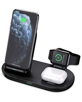 AUKEY Chargeur sans Fil, Station de Charge sans Fil 3 en 1 Compatible avec l'iPhone 12/12 Pro/12Pro Max/12 Mini,AirPods 2 / Pro Samsung Galaxy S10 / S9 / S8, Note 10/9
