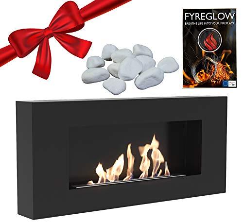 Delta Flat Bio Ethanol Wall Fireplace - FYREGLOW Glow Flame Accessori 1g - Eco-Stone 1kg - Pack