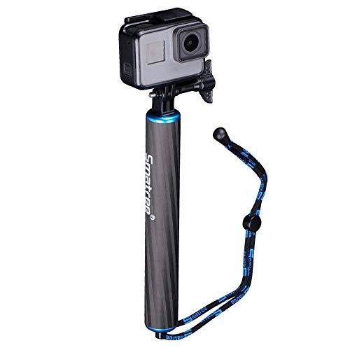 Smatree SmaPole F1- Bastone Selfie Monopiede in Fibra di Carbonio Presa a Mano per GoPro Hero 8/7/6/5/4/3+/3/2/1, DJI OSMO Action, Blu