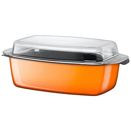Silit Passion Orange Bräter Induktion 39 x 22 x 15 cm, Schmortopf mit Glasdeckel 5,3l, Silargan Funktionskeramik, backofenfest, Auslaufmodell, orange