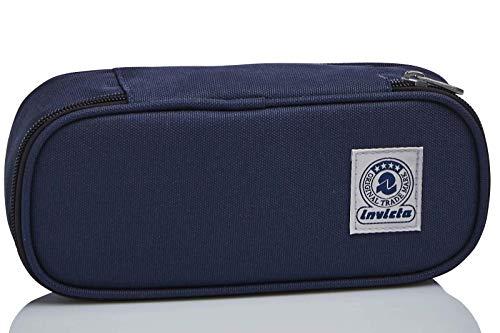 Bustina Ovale Invicta Benin Eco-Material, Blu, con Organizer interno porta penne