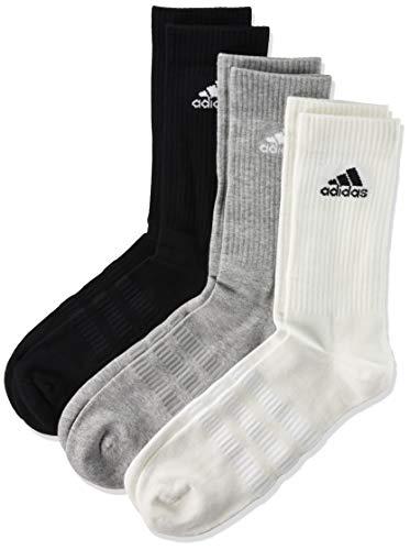 adidas Cushioned, Calzini Uomo, Multicolore (Black/Grey/White), L