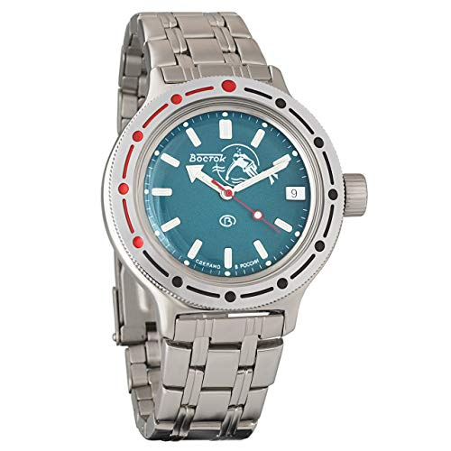 VOSTOK Amphibian Military Diver Scuba Dude Blue Wrist Watch #420059