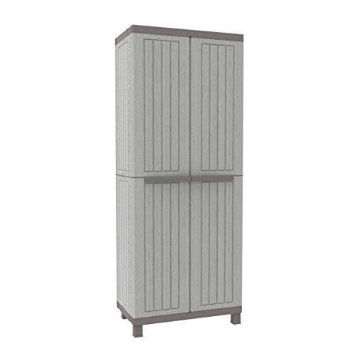 Terry C-Wood 2680hoher Schrank aus Kunststoff mit mehreren Einlegeböden, grau/taupe, 68x 39x 170cm