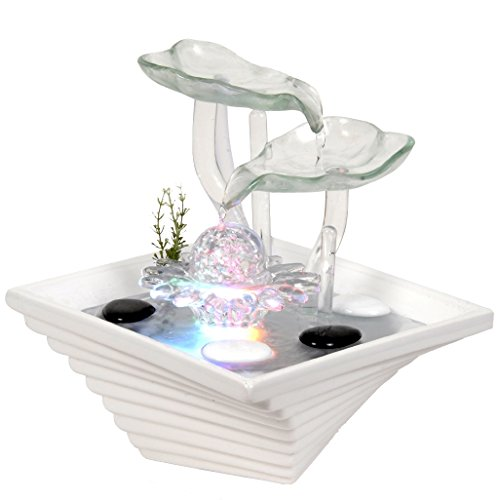Zen'Light SCFV2FW Flower - Fontana per Interni, 24 x 24 x 27 cm, Colore: Bianco