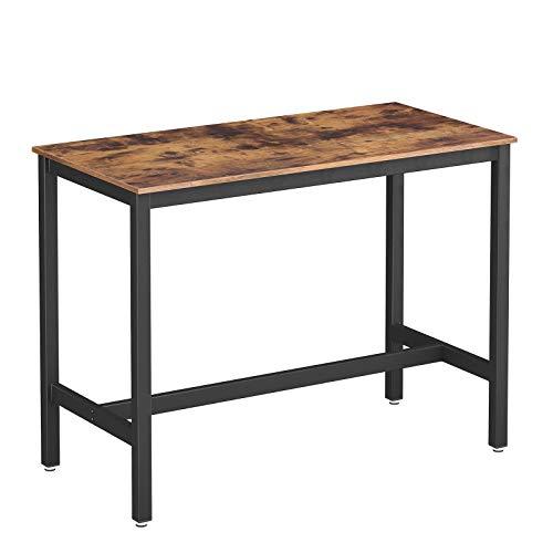 VASAGLE Bartisch Metall, Computertisch, Stabiler Stehtisch Tisch 120 x 60 x 90 cm für Cocktails, einfache Montage, Holzoptik, Küchentisch Vintage, Dunkelbraun LBT91X