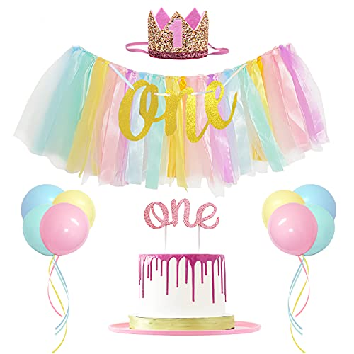 JANEF First Birthday Decoration for Girl, Rainbow High Chair Banner, 1st Birthday Crown Cake Topper and Balloons, Suit for Unicorn Birthday Shower Party