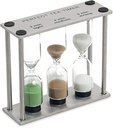 Tee-Uhr mit Edelstahl-Halter | 3 Sand-Uhren für 3, 4 und 5 Minuten | Perfekte Zubereitung von Tee wie in Japan