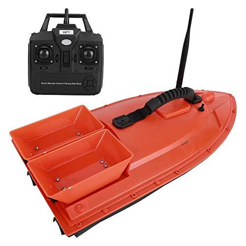 Barca Telecomandata da Pesca, Barca da Pesca Telecomandata Barche da Pesca Ecoscandaglio da Pesca con Cabina Doppia & Luce Notturna a LED, Caricamento 1.5KG-2KG, Doppio Motore, 52000mAh(Red)