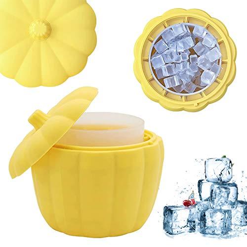 Uymaty Secchiello per il ghiaccio in silicone,Vassoio per cubetti di ghiaccio con coperchio,macchina per il ghiaccio in silicone a doppio strato a forma di zucca per feste da bar in casa(13X13X12.5CM)