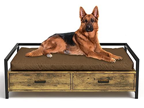 MSmask Cuccia per cani con cassetto, divano per cani, cuccia rialzata, telaio letto per cani di taglia piccola, media e grande, portata massima 70 kg (96 x 70 cm, marrone retr