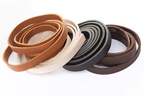 Esnado - Correa de piel plana 1 metro. Ancho/color: a elegir., piel, marrón claro, Breite: 10 mm