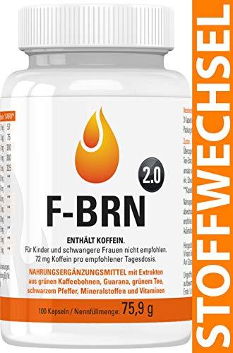 Vihado F-BRN 2.0 - Stoffwechsel Komplex Kapseln, Für Frauen und Männer mit Grüner Kaffee Extrakt, Grüner Tee Extrakt, Guarana, Vitamine, 100 Kapseln