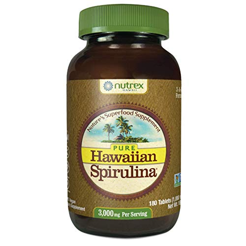 Pure Hawaiian Spirulina-1000 mg Tablets 180 Count - Natural Premium Spirulina from Hawaii - Vegan, Non-GMO, Non-Irradiated - Superfood Supplement & Natural Multivitamin