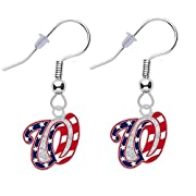 "Washington Nationals earrings silver tone metal, lead and nickel free earrings Charm is ~ 1/2"" x 5/8"""