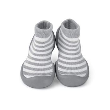 Step Ons: Half Sock and Half Shoe for Crawling Cruising and Walking! (18-24 Months, Grey Stripe) UK Size 5