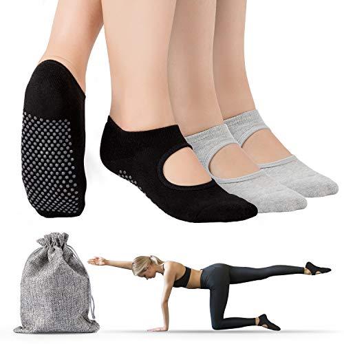 Tusscle Antiscivolo Calze Donna - Calzini Pilates Antiscivolo per Yoga, Pilates, Pure Barre, Balletto, Danza, Fitness, Ballo a Piedi Nudi