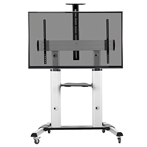 VIVO Ultra Heavy Duty Mobile 60 to 100 inch TV Stand for Flat Screens | Adjustable, Rolling TV Cart Mount with Wheels (STAND-TV22S)