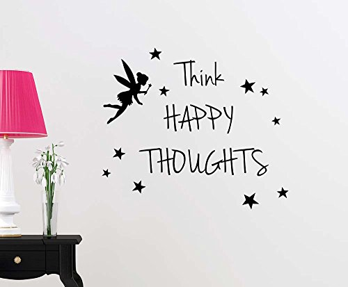 Think Happy Thoughts Fairy Magical playroom Sticker Nursery Vinyl Saying Lettering Wall Art Inspirational Sign Wall Quote Decor
