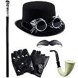 Tigerdoe Steampunk Halloween Costumes - Steampunk Hat with Goggles - Steampunk Accessories - Gentleman's Costume (6 Pc Steampunk Set)