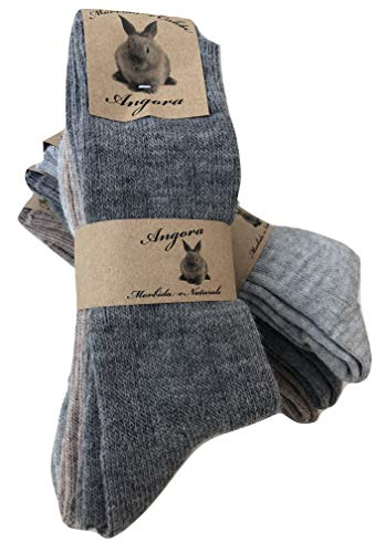 worldsocks calzini caldi in lana d 'angora per uomo e donna,calze calzini invernali per il freddo made in italy,altezza met polpaccio.(3 pack or 6 pack) (43-46, 6 paia ass.A)