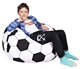 Lukeight Stuffed Animal Storage Bean Bag Chair, Bean Bag Cover for Organizing Kid's Room - Fits a Lot of Stuffed Animals, X-Large/Football Pattern