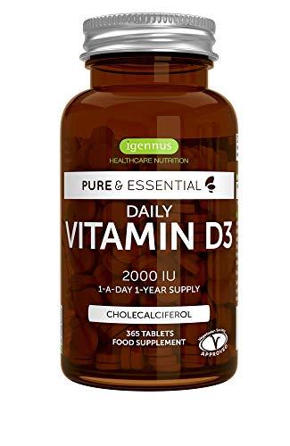 Pure & Essential Vitamina D3 Cotidiana, colecalciferol 2000 UI, suministro diario para un año, 365 comprimidos (1)