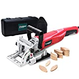 AOBEN 8.5 Amp Biscuit Cutter Plate Joiner With No. 0 Wood(30 Pcs) No. 10 Wood(30 Pcs) No. 20 Wood(50 Pcs), 4' Tungsten Carbide Tipped Blade, Adjustable Angle And Dust Bag