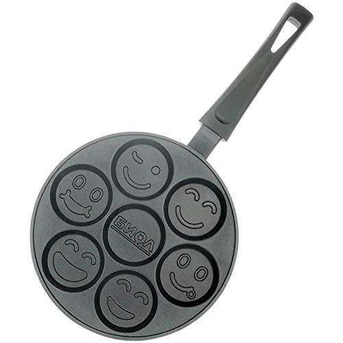 Biol - Padella per crpe e pancake con stampi a forma di smile, antiaderente, 24 cm