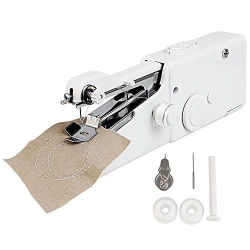 GOLRISEN Mini Macchina da Cucire Portatile Cucitrice Portatile per Tessuti Handheld Strumento di Cucitura Rapida con 3 Bobine e 1 Incordatrice per Vestiti Tessuti Viaggi Domestici Fai da Te, Bianco