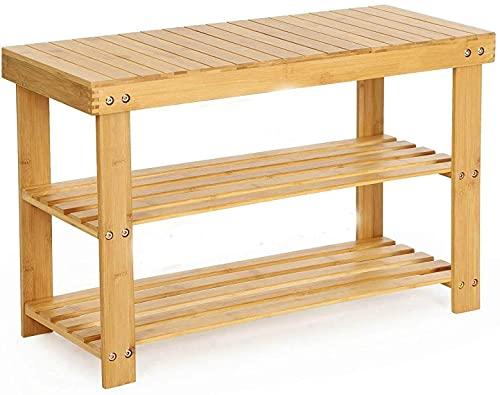 Zapatero con 3 niveles, de bambú, estantería de baño,...