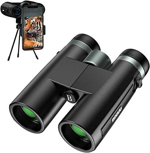Binocolo Professionale, BOOVV 12x42 HD Binocolo Potente Compatto Notturna con Prisma BaK4 e FMC, Adattatore Smartphone, Ideale per Birdwatching, Caccia, Viaggio, Campeggio e Eventi Sportivi