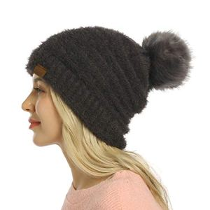 ViGrace Womens Winter Hat Slouchy Warm Beanie Hats Faux Fur Pompom Chunky Baggy Ski Cap with Fleece Lined for Women
