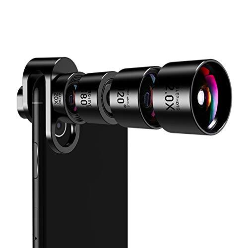 JOPREE スマホ用カメラレンズ iphone レンズ 4点セット20xマクロ 180°魚眼 2X 望遠 120°広角レンズ クリップ式 多機種対応 簡単取り付け 軽量アルミニウム