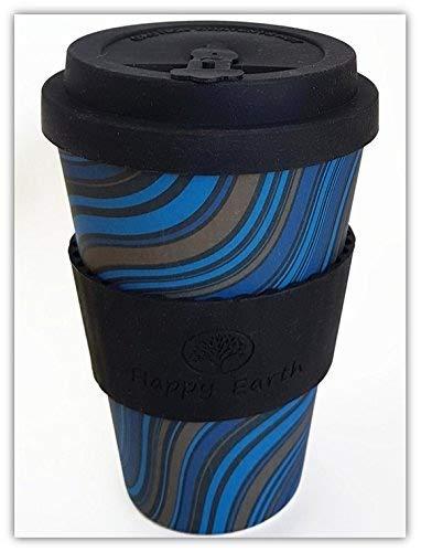 WAVESTRIPE di Happy Earth (Riutilizzabile tazza da caffè Eco-Friendly 450ml, realizzata con fibra di bambù naturale biologica, può essere utilizzata come tazza da viaggio o tazza da caffè per uso domestico)