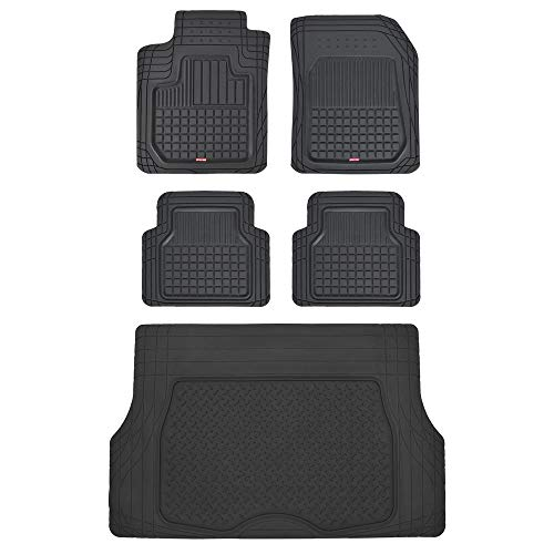 Motor Trend CB210-C2 Rubber Floor Mats for Car SUV Truck-5 Piece Set w/Cargo Trunk Liner-Odorless Trimmable