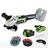 WORKPRO 20V Cordless Angle Grinder Kit, 4-1/2 Inch, Lightweight Angle Grinder Tool w/ 4.0Ah Lithium-Ion Battery & Fast Charger, Ergonomic Button Position for Reducing Hand Pressure