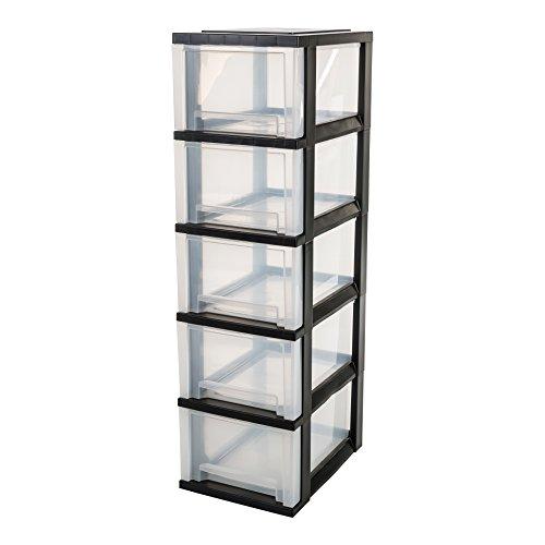 IRIS, Schubladenschrank / Schubladenbox / Rollwagen / Rollcontainer / Werkzeugschrank \'Smart Drawer Chest\', SDC-305, mit Rollen, Kunststoff, schwarz / transparent