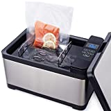 TINVOO Sous Vide Water Oven, Chef Series Slow Cooker w/Patented H-B-C system, Touch Panel|Water LevelProtection System|Accurate, Stable Temperature Control, 800 Watts Sous Vide Containe (Silver)